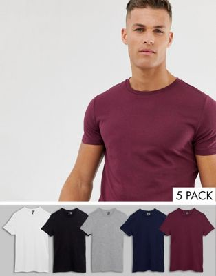 9566f65b2980 ASOS DESIGN 5 pack t-shirt with crew neck SAVE