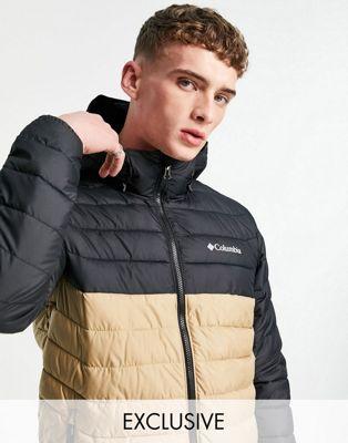Columbia Power Lite hooded jacket in black/beige Exclusive at ASOS | ASOS