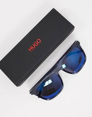 HUGO square sunglasses in black with blue lens | ASOS