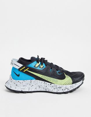 Nike Running Pegasus Trail 2 trainers in black, blue and green   ASOS